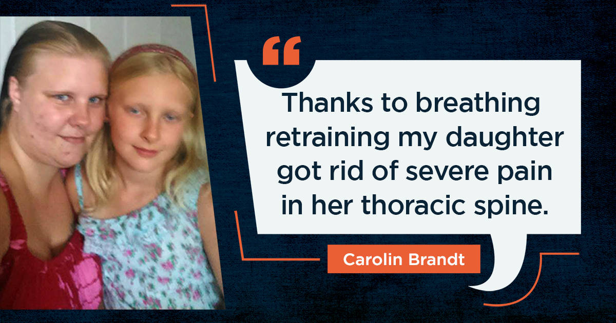 Nine-year-old got rid of severe pain in her thoracic spine with breathing retraining
