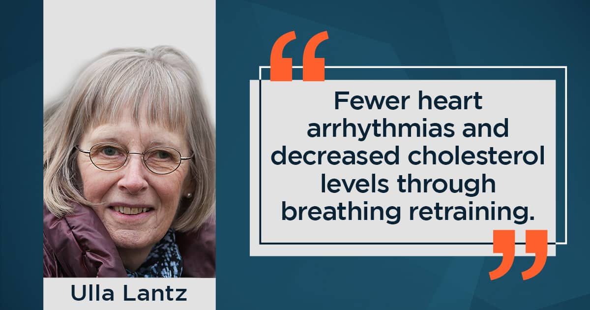 Fewer heart problems and decreased cholesterol levels through breathing retraining